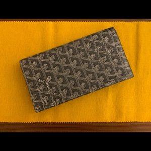 Goyard Grey Long Richelieu Leather Canvas Wallet